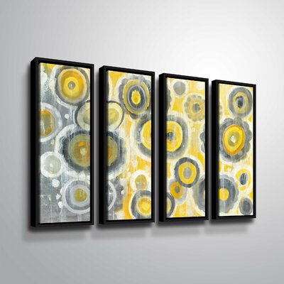 'Abstract Circles' Rectangle Watercolor Painting Print Multi-Piece Image Format: Black Framed, Size: 24