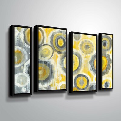 'Abstract Circles' Watercolor Painting Print Multi-Piece Image Format: Black Framed, Size: 24