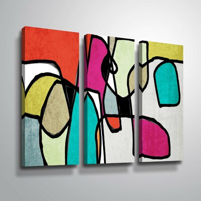 'Vibrant Colorful Abstract IV' Graphic Art Print Multi-Piece Image on Canvas Format: Wrapped Canvas, Size: 24