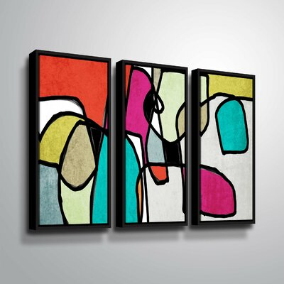 'Vibrant Colorful Abstract IV' Graphic Art Print Multi-Piece Image on Canvas Format: Black Framed, Size: 24
