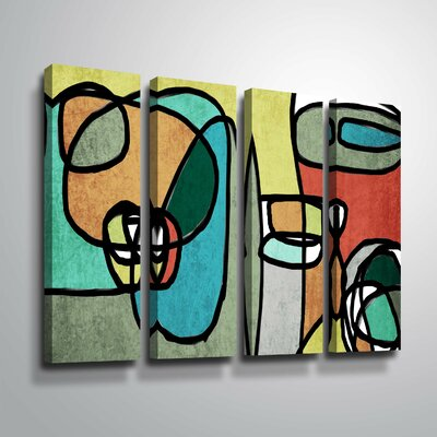 'Vibrant Colorful Abstract IX' Rectangle Graphic Art Print Multi-Piece Image on Canvas Format: Wrapped Canvas, Size: 24