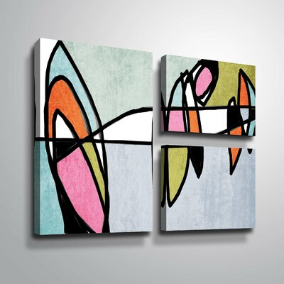 'Vibrant Colorful Abstract VI' Graphic Art Print Multi-Piece Image Format: Wrapped Canvas, Size: 24