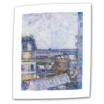 Paris from Vincent's Room by Vincent van Gogh Painting Print on Rolled Canvas VanGogh28-14x18