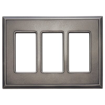 Classic Magnetic Triple GFCI Wall Plate Finish: Timeworn Steel