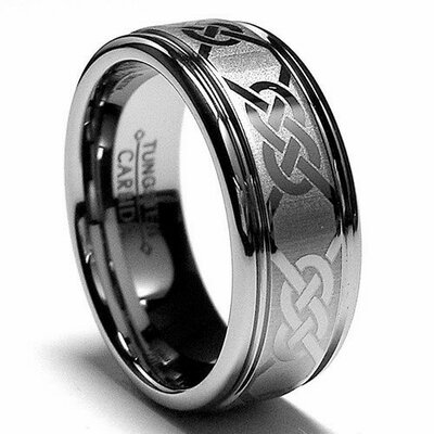 Tungsten Carbide Laser Etched Celtic Comfort Fit Wedding Band Size: 7