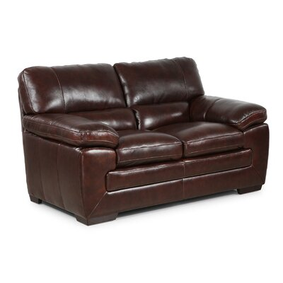 Antora Leather Loveseat Upholstery: Black Oak