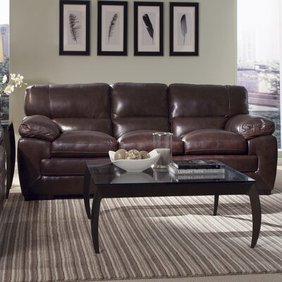 Antora Leather Sofa Upholstery: Black Oak