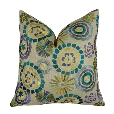 Lyford Blue/Green Throw Pillow  Size: 18 H x 18 W