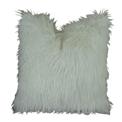 Curly Mongolian Fur Handmade Throw Pillow  Size: 22 H x 22 W