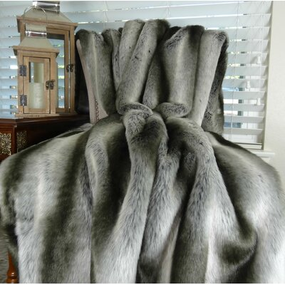 Chinchilla Faux fur Throw Size: 90 L x 90 W