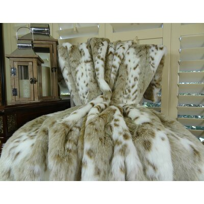 Siberian Leopard Faux fur Throw Size: 90 L x 90 W