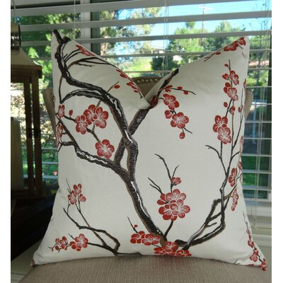 Japanese Blossom Throw Pillow Size: 20 H x 20 W
