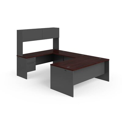 38000 Series U-Shaped Computer Desk with Hutch Finish: Mahogany Charcoal, Orientation: Right Product Image 1326