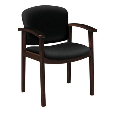 Invitation Guest Chair Seat Color: Black, Finish: Mahogany
