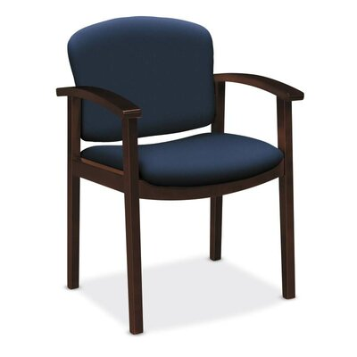 Invitation Guest Chair Seat Color: Navy, Finish: Mahogany
