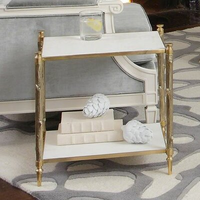 Arbor Side Table in Brass and White Marble Finish: Brass and White Marble