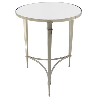 Cheap Global Views Round French Square Leg Table with Mirror Top in Nickel (GXV1098)