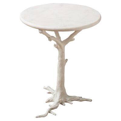 Faux Bois End Table Color: White