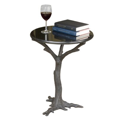 Faux Bois End Table Finish: Black