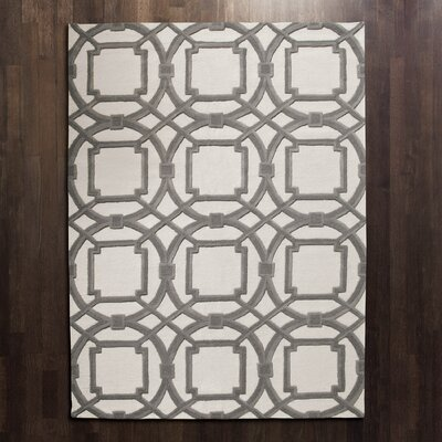 Arabesque Grey/Ivory Area Rug Rug Size: Rectangle 5 x 8