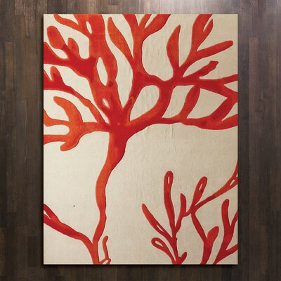 Coral Red Area Rug Rug Size: 6 x 9