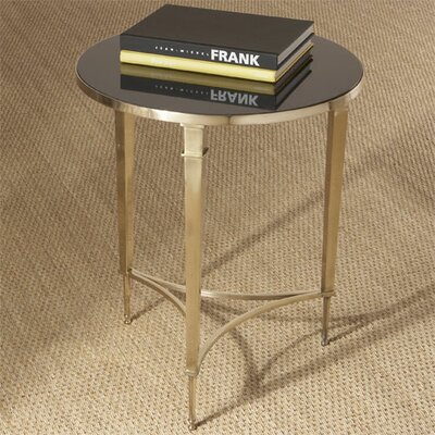 French End Table Finish: Brass; Black Granite Top