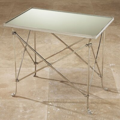 Cheap Global Views Rectangular Directoire Table with Mirror Top in Nickel (GXV1218)