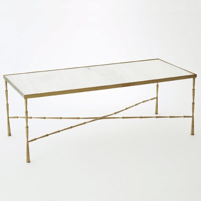 Spike Marble Coffee Table Base Color: Antique Brass