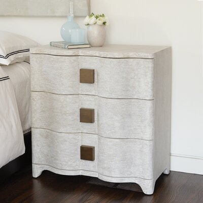 Toile Linen Bedside 3 Drawer Chest