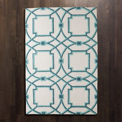 Arabesque Hand-Tufted Aqua Area Rug Rug Size: Rectangle 5 x 8