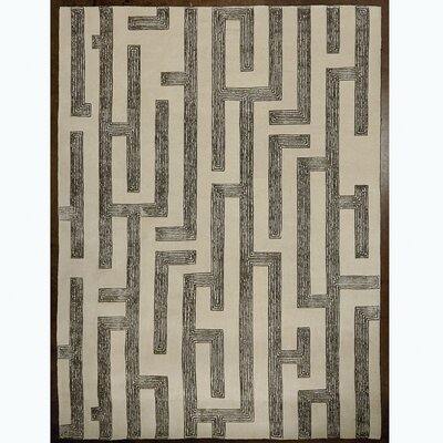Labyrinth Hand Tufted Wool Gray Area Rug