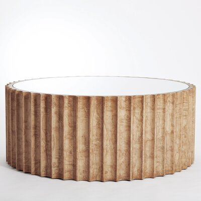 Reflective Column Coffee Table Color: Olive Ash Burl