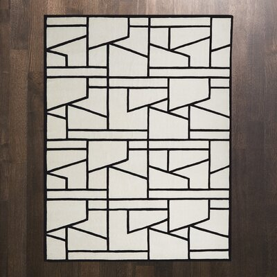 Zig Zag Ivory/Black Area Rug Rug Size: Rectangle 8 x 10