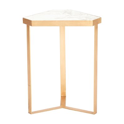 Tri-Hex Marble End Table