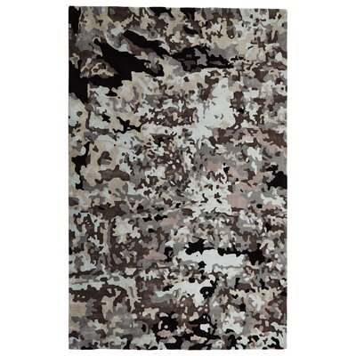Peeling Paint Wool Gray/Black Area Rug Rug Size: Rectangle 5 x 8
