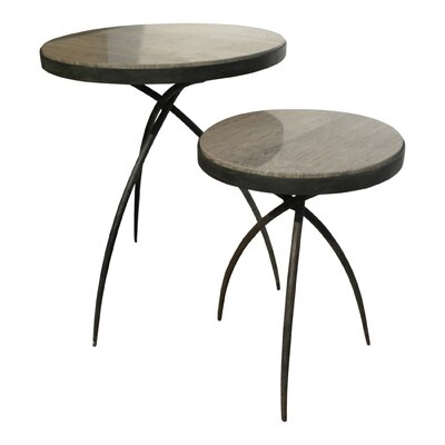Tripod 2 Piece End Table Set with Marble Top