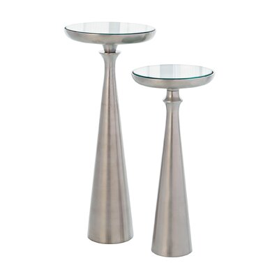 Minaret End Table Size: 20 H x 9 W x 9 D, Finish: Satin Nickel