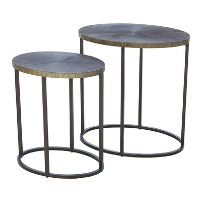 Striated End Table Color: Nickel