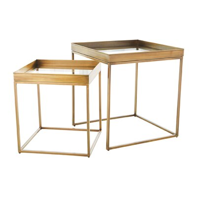 Perfect 2 Piece Nesting Tables Color: Antique Brass