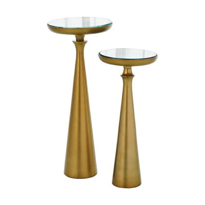 Minaret End Table Size: 20 H x 9 W x 9 D, Finish: Satin Brass