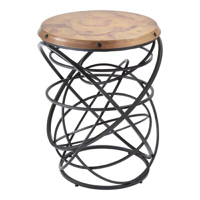 Rustic Top Ring End Table