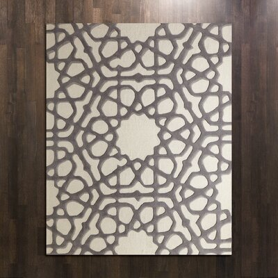 Rose Window Hand-Tufted Wool Gray Area Rug Rug Size: Rectangle 6 x 9