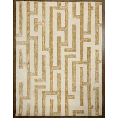 Labyrinth Hand-Tufted Golden Area Rug Rug Size: Rectangle 6 x 9