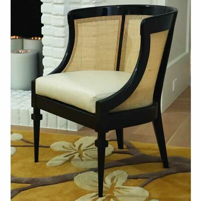 Cane Cowhide Leather Barrel Chair