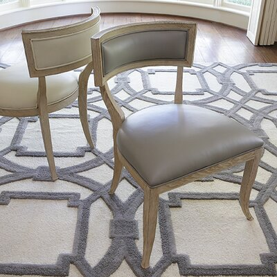 Klismos Genuine Leather Upholstered Dining Chair Finish: Grey Leather