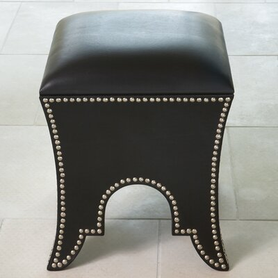 Ottoman Upholstery: Black Leather