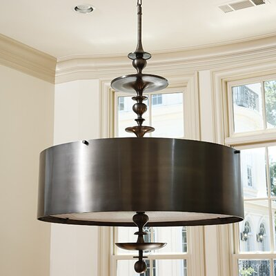 Turned 4-Light Drum Pendant Chandelier