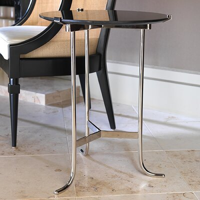 Plie End Table Finish: Polished Nickel / Black Granite