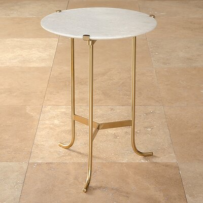 Plie End Table Finish: Polished Brass / White Honed Marble