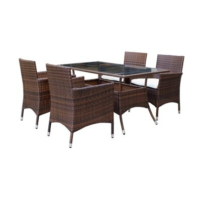 Mulberry 5 Piece Dining Set with Cushion Finish: Brown and White